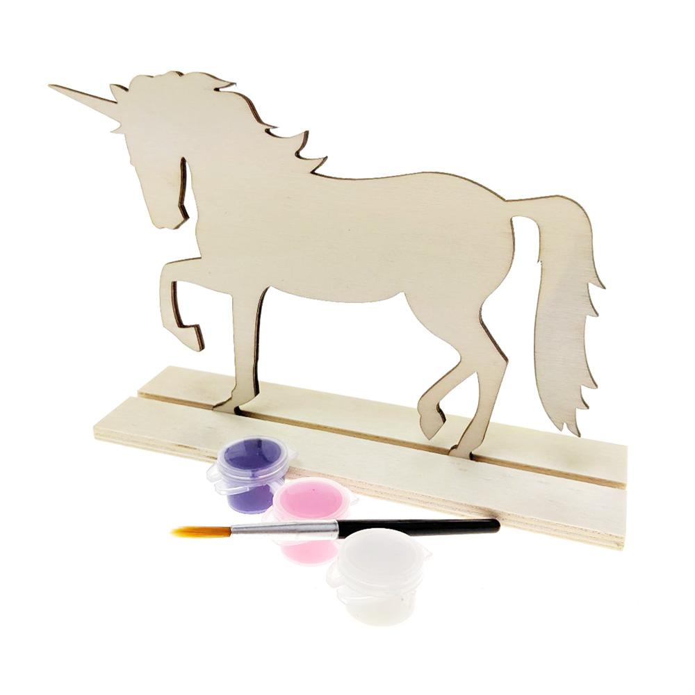 DIY Unicorn Wood Stand-Up Crafty Kids Kit, Natural, 7-Inch