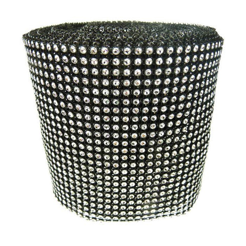 Rhinestone Diamond Wrap Ribbon, 4-3/4-Inch, 10 Yards, Black