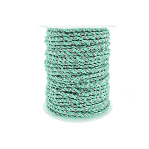 Metallic Twisted Cord Rope Trim, 3mm, 25-Yard, Aqua