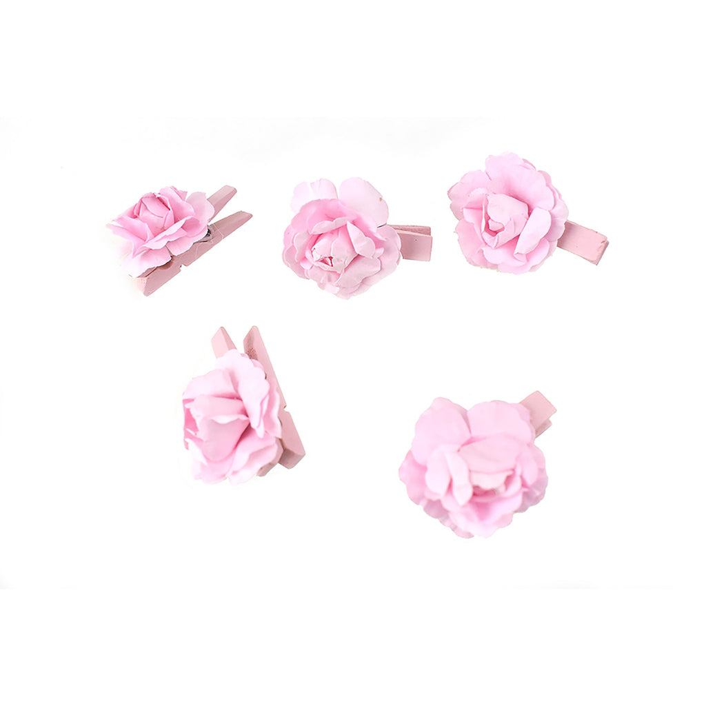 Paper Flower Baby Shower Wooden Clothespins Favors, 1-1/2-Inch, 5-Count, Pink