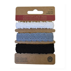 Assorted Cotton Lace Trim, 1-Yard, 3-Piece, Classic