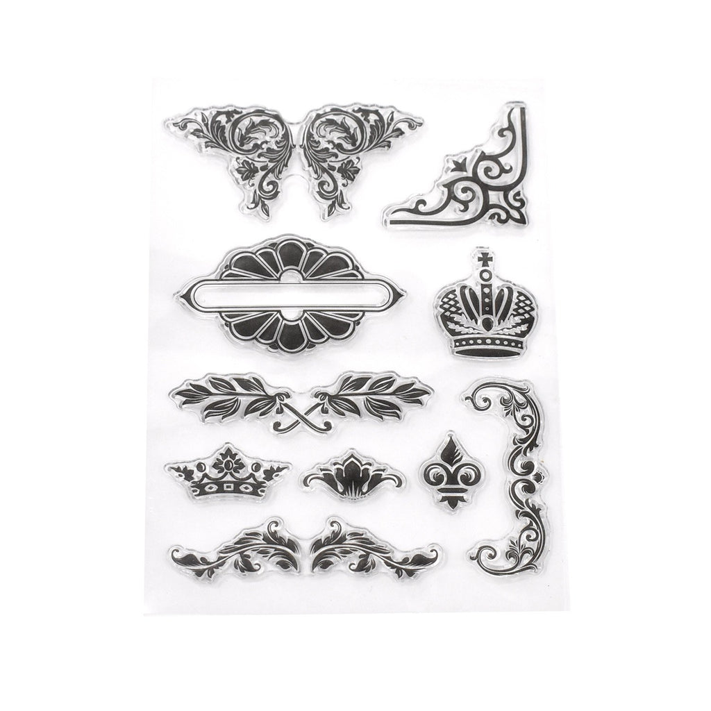 Silicone Noble Floral Clear Stamps, 10-Piece