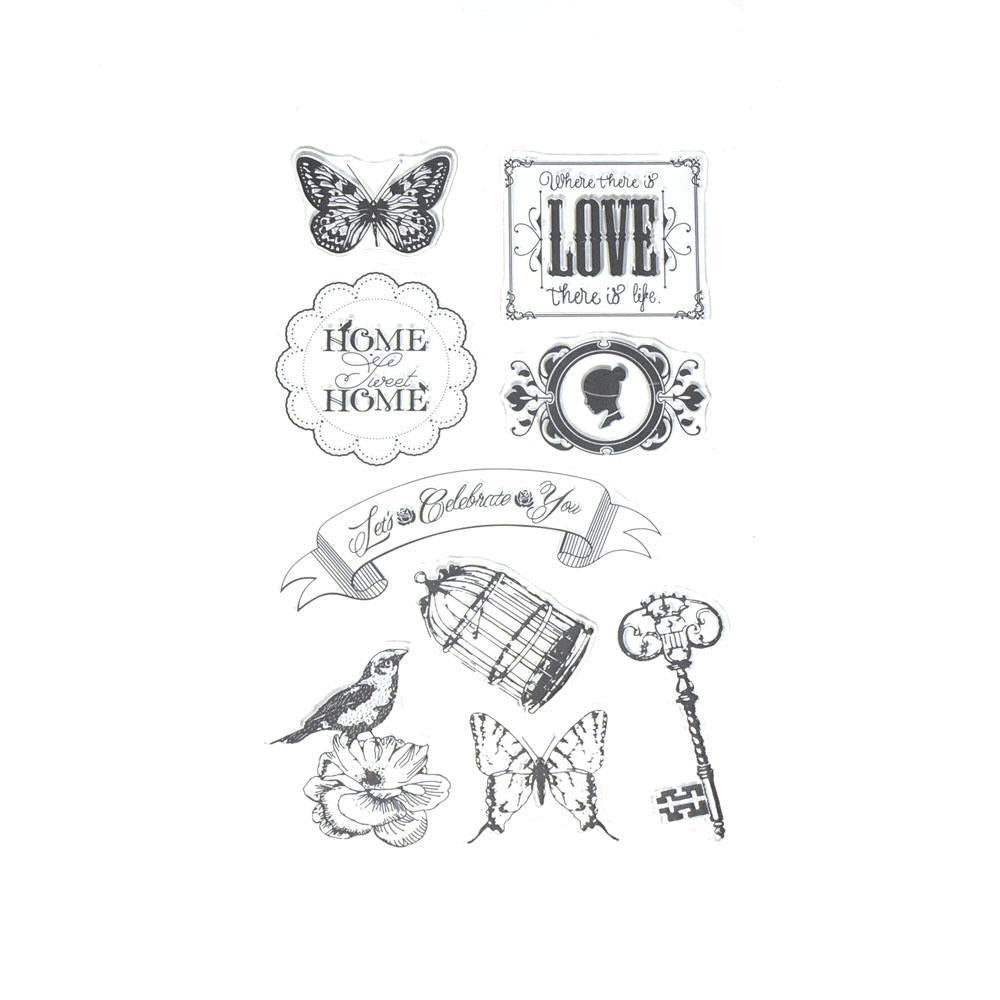 Silicone Clear Stamps Home Sweet Home, 9-Piece