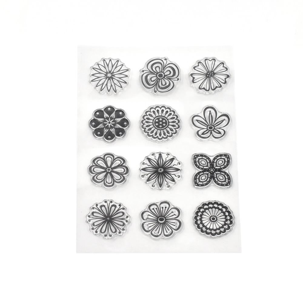 Silicone Simply Floral Clear Stamps, 12-Piece