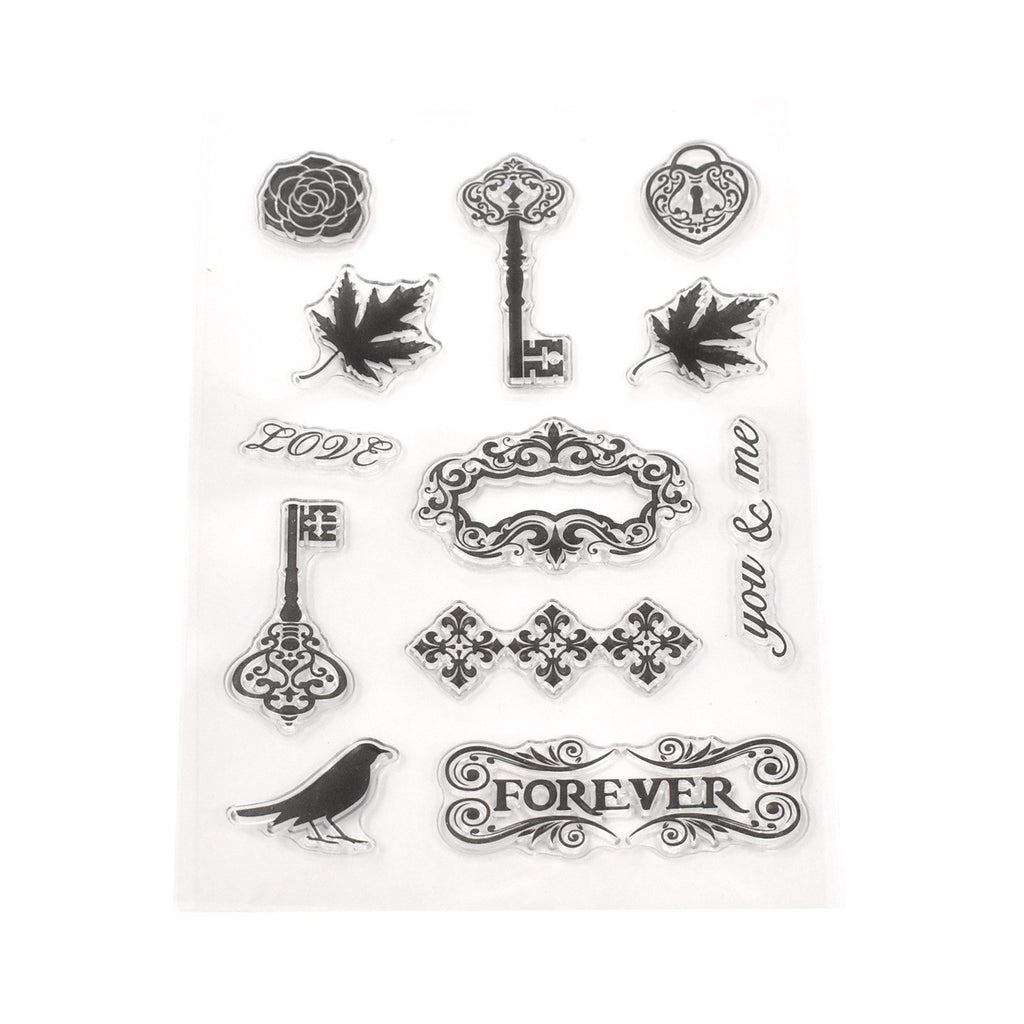 Silicone Vintage Keys Clear Stamps, 12-Piece