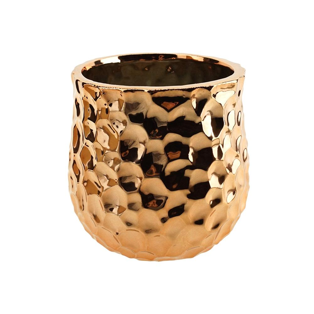 Hammer Textured Ceramic Pot, Rose Gold, 5-1/2-Inch