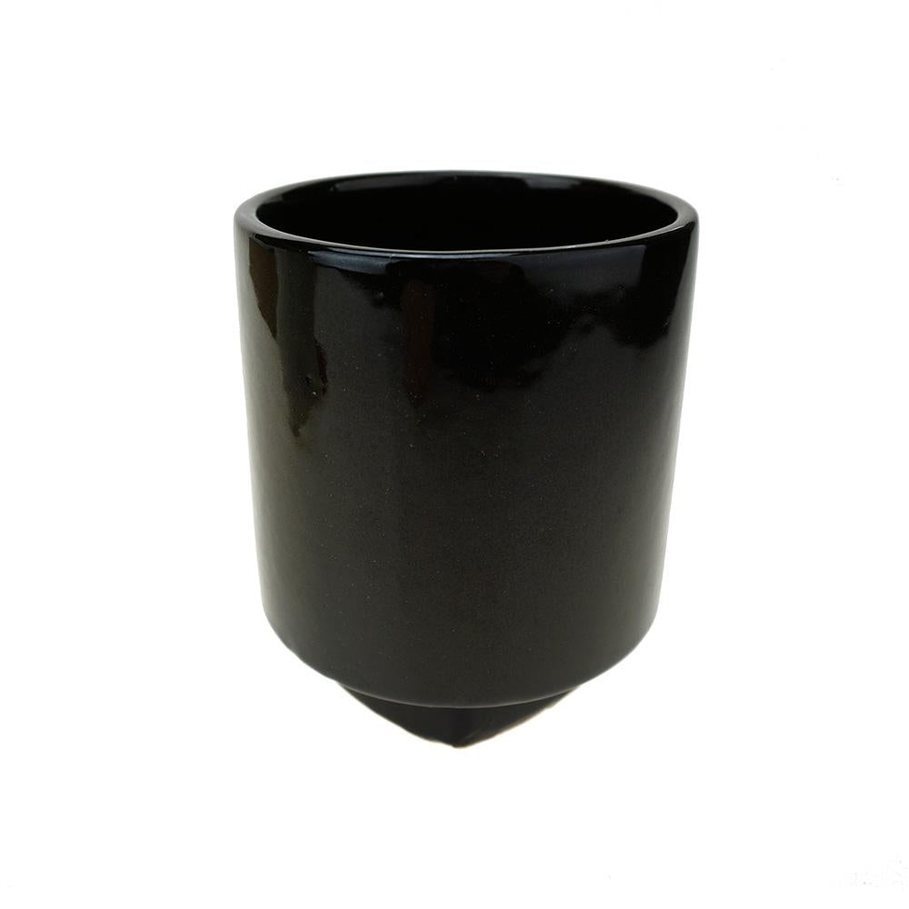 Cylinder Ceramic Pot with Base, 5-Inch, Black