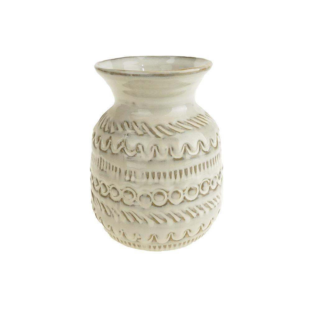 Fancy Pineapple Tapered Ceramic Pot, White, 5-1/2-Inch