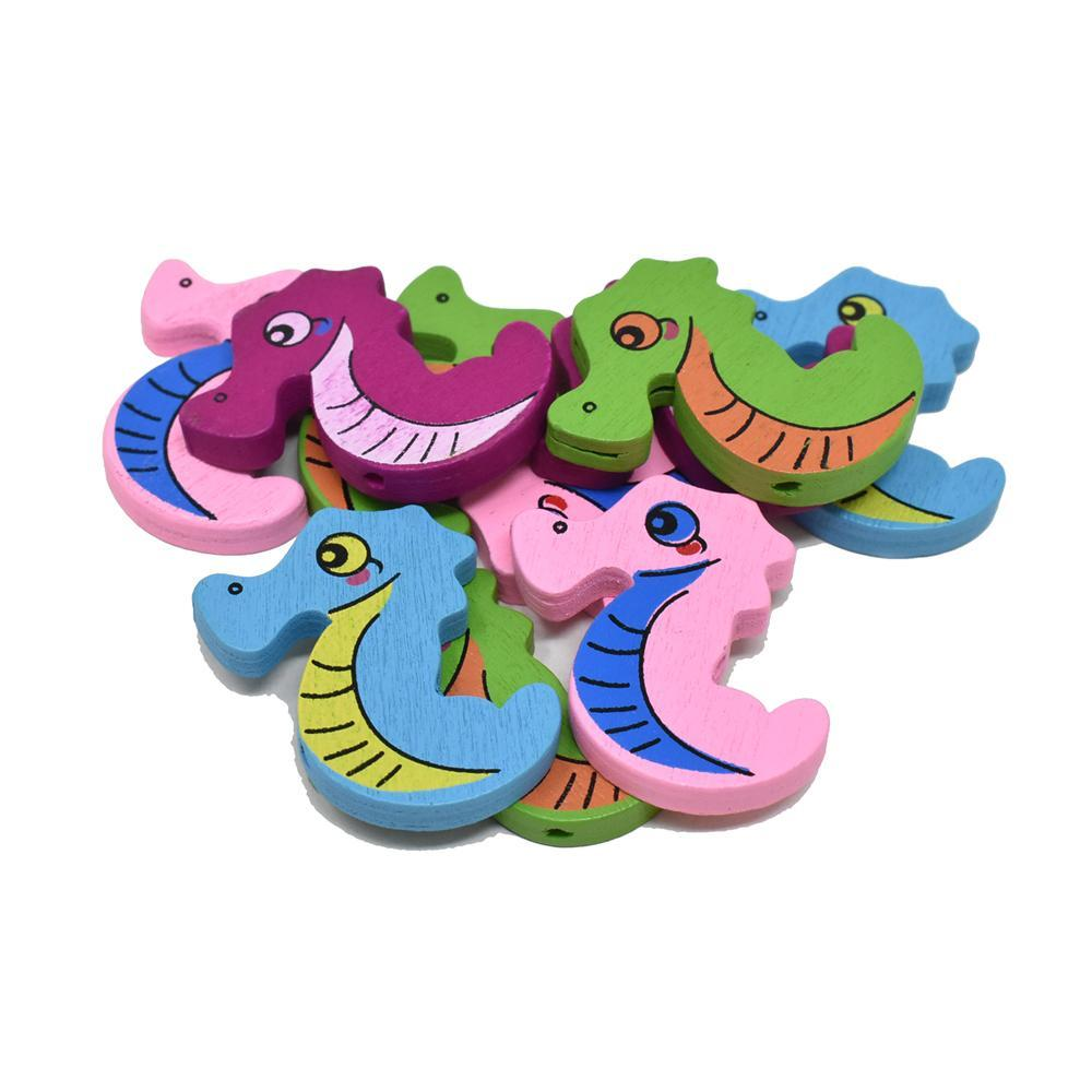 Craft Wood Seahorse Deco Beads, 1-5/16-Inch,10-Piece