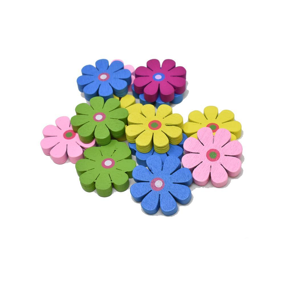 Craft Wood Daisy Deco Beads, 1-Inch, 15-Piece