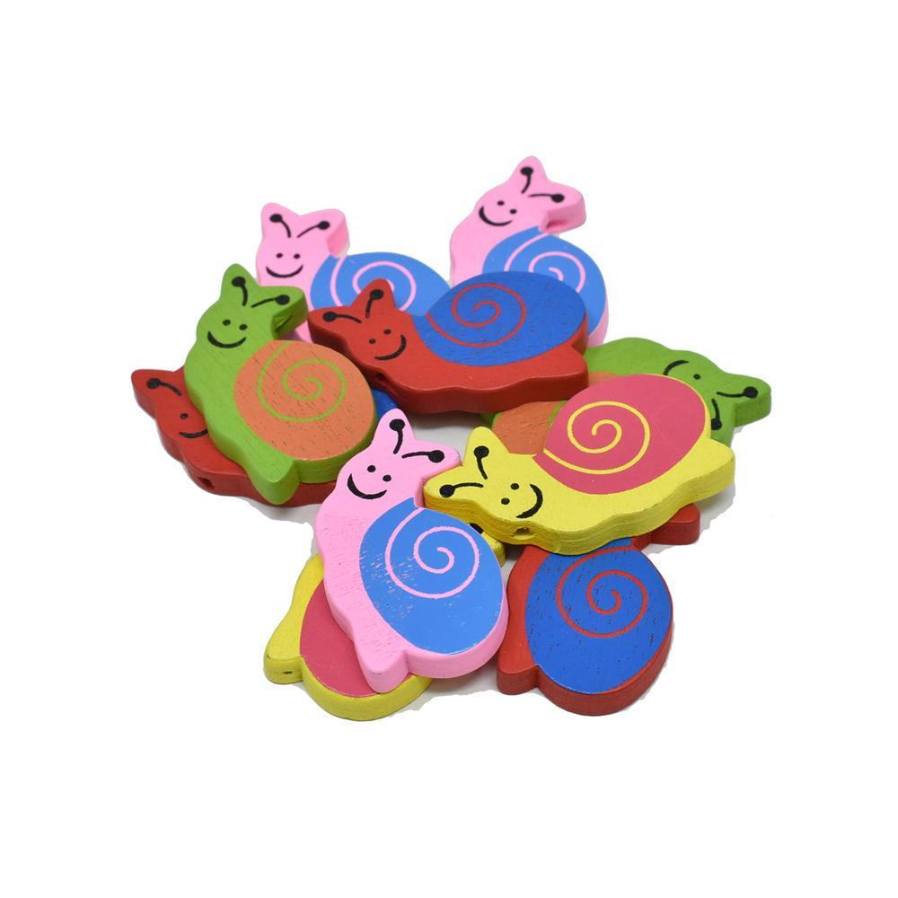 Craft Wood Snail Deco Beads, 1-3/8-Inch, 10-Piece