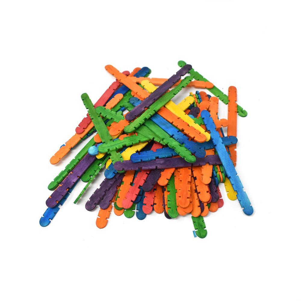 Colored Craft Skill Sticks, 4-1/2-Inch, 80-Piece