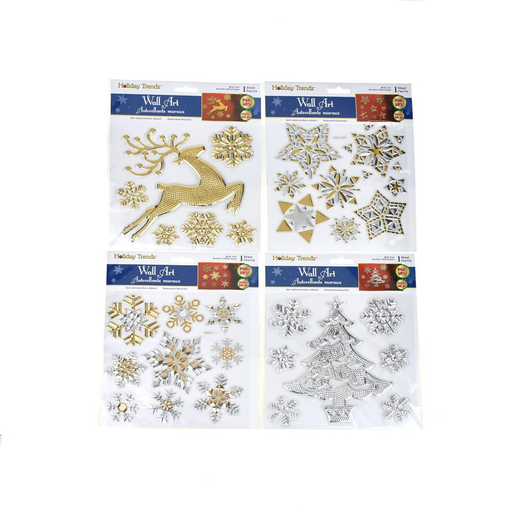 Snowflake Metallic Foil Removable Christmas Wall Art Stickers, 35-Piece