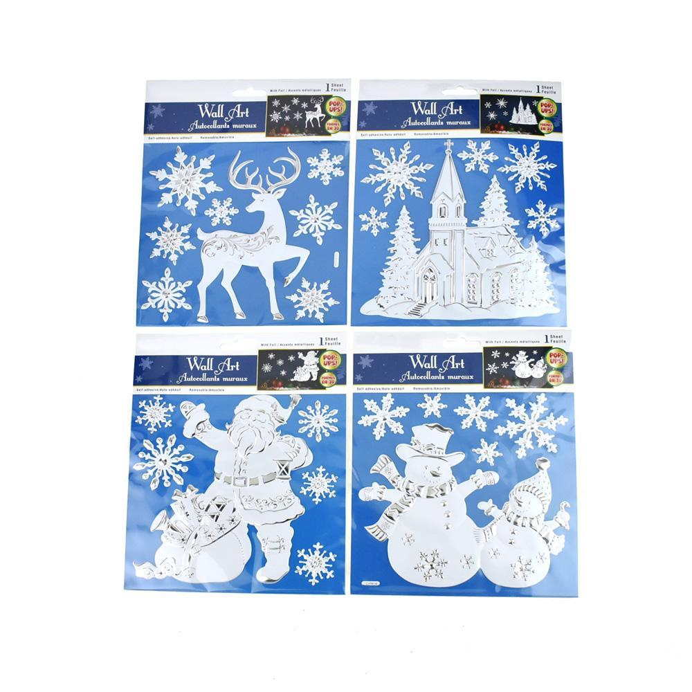 Christmas Splendor Metallic Removable Wall Art Stickers, 26-Piece