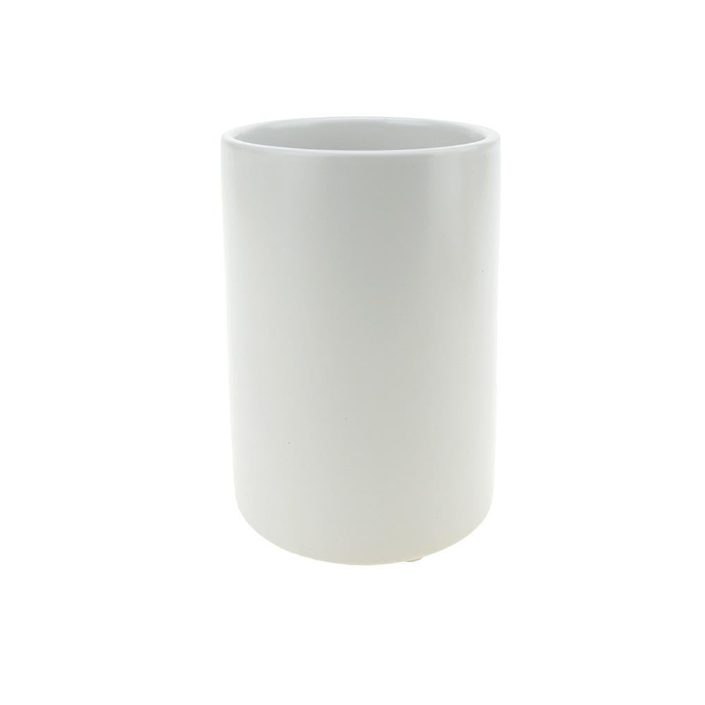 Matte Cylinder Ceramic Pot, White, 6-Inch