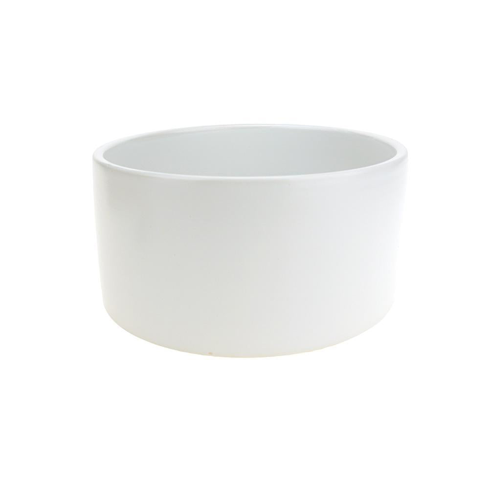 Matte Wide Round Cylinder Ceramic Pot, White, 8-Inch