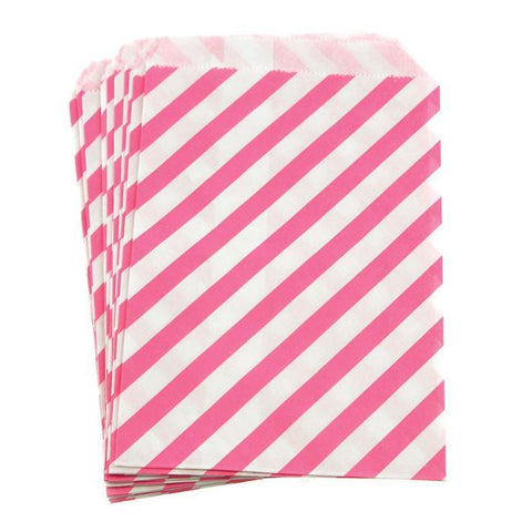 Candy Stripe Paper Treat Bags, 7-inch 25-Piece, Hot Pink
