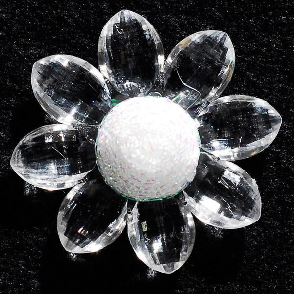 Sunflower Acrylic Crystal Flower, 1-3/4-inch, 6-Piece, Clear