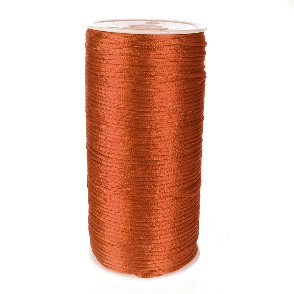 Satin Rattail Cord Chinese Knot, 1/16-Inch, 200 Yards, Coral