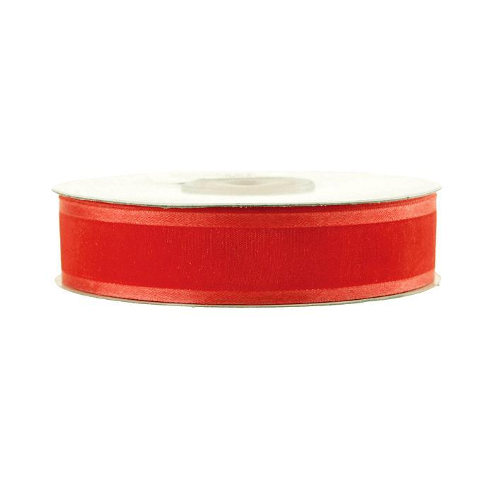 Satin-edge Sheer Organza Ribbon, 7/8-Inch, 25 Yards, Coral