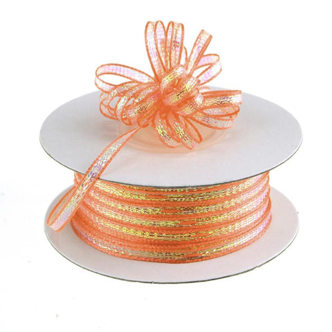 Iridescent Pull Bow Christmas Ribbon, 1/8-Inch, 50 Yards, Coral