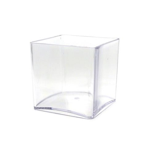 Clear Acrylic Cube Vase Display, 4-Inch x 4-Inch