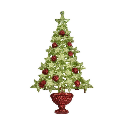 Acrylic Glitter Berry and Star Christmas Tree Ornament, 6-1/2-Inch
