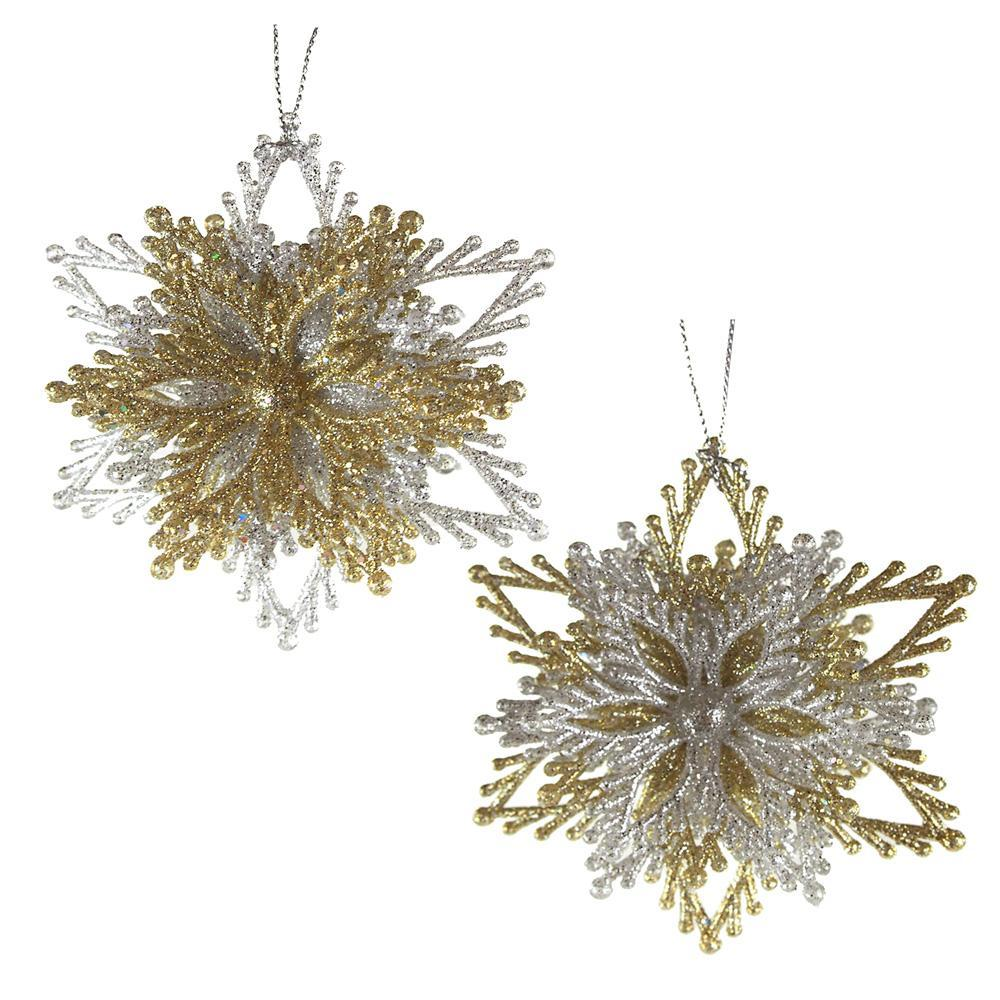 Acrylic Glitter Starburst Christmas Ornaments, Gold/Silver, 3-1/2-Inch, 2-Piece