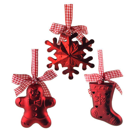 Gingerbread Snowflake Stocking Bell Hanging Plastic Ornaments, Red, 4-Inch, 3-Piece