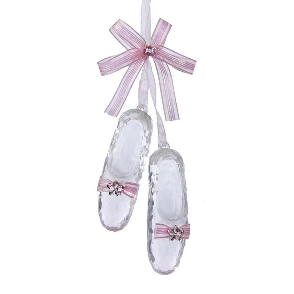 Crystal Acrylic Ballet Shoe Christmas Ornament, 6-1/2-Inch