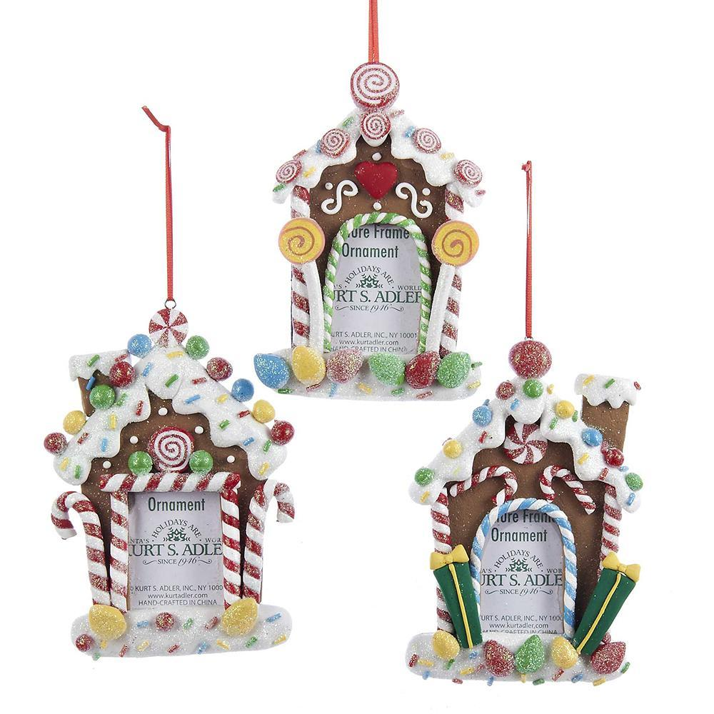 Gingerbread Candy House Photo Frame Christmas Ornaments, 3-Piece ...