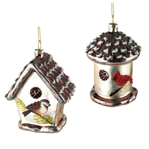 Birdhouse Glass Ornaments, Assorted, 4-3/4-Inch, 2-Piece