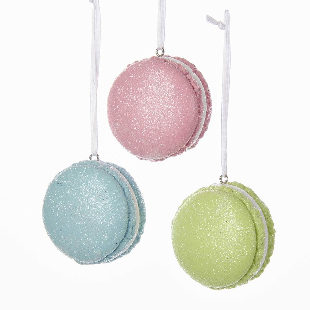 Glitter French Macaron Christmas Ornaments, 2-Inch, 3-Piece