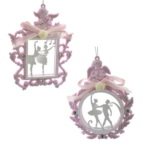 Ballet Figures in Glitter Frame Ornaments, 5-3/4-Inch, 2-Piece