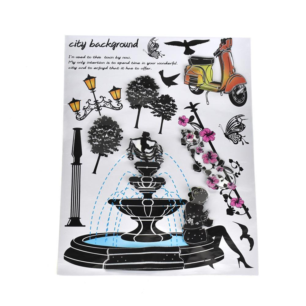 City Fountain 3D Pop Up Wall Art Stickers, 14-Piece