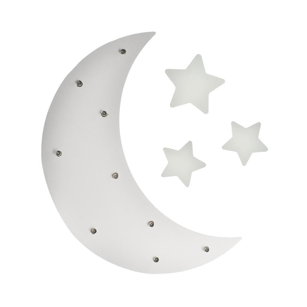 Moon & Stars LED Light Up Wood Wall Decor, White, 4-Piece