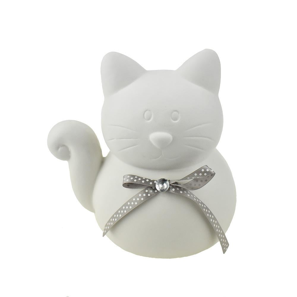 Ceramic Cat With Bow Tie Coin Bank, Matte White, 7-1/2-Inch