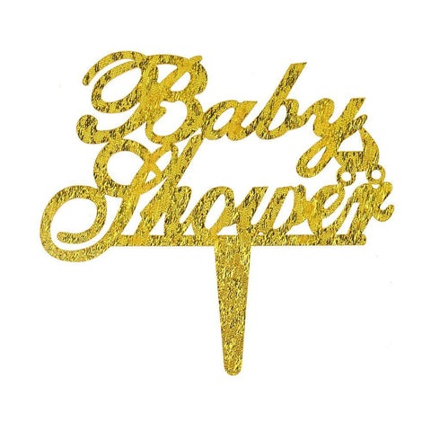 Baby Shower Shimmer & Shine Cake Topper, Gold, 4-1/2-Inch