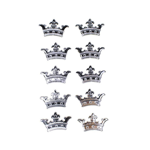 Acrylic Rhinestone Three Point Crown Stickers, 7/8-Inch, 10-Count, Silver