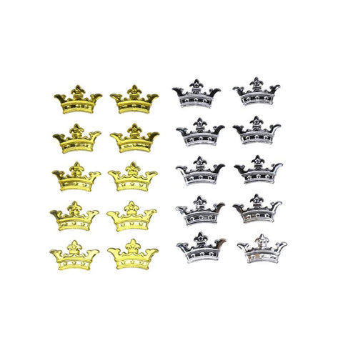 Acrylic Rhinestone Three Point Crown Stickers, 7/8-Inch, 10-Count