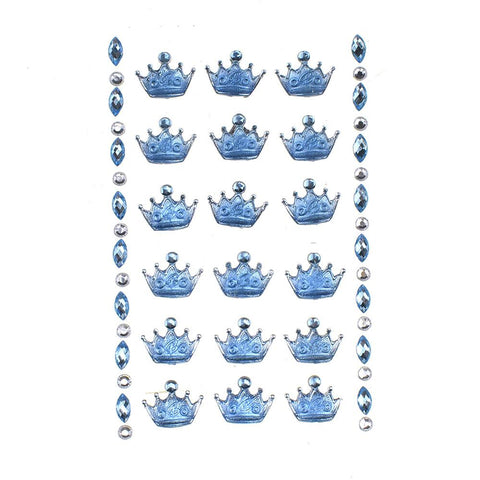Acrylic Crown Stickers, Blue, 3/4-Inch, 8-Strips