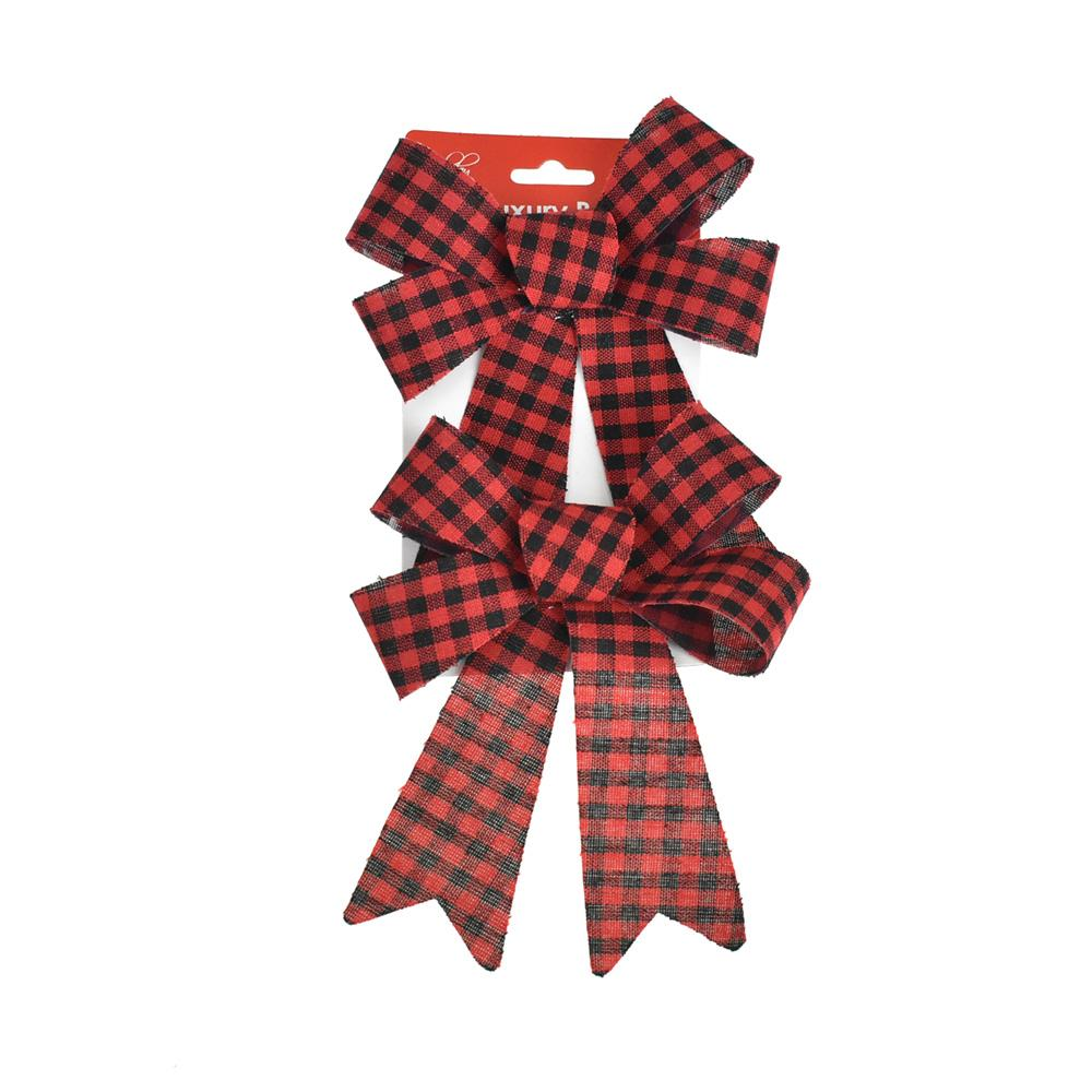 Cabin Checkered Plastic Christmas Bows, Red, 7-Inch, 2-Piece