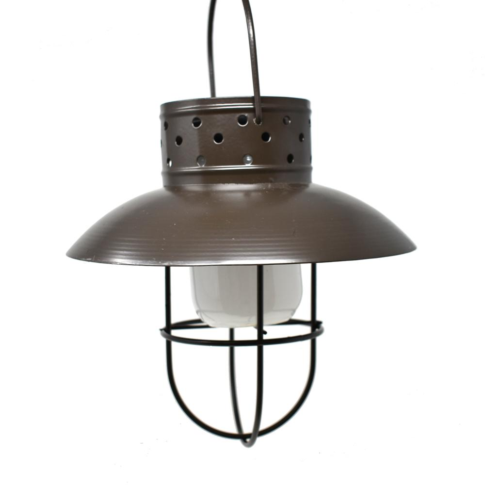 Solar-Powered Rustic Hanging Lamp, Brown, 12-Inch