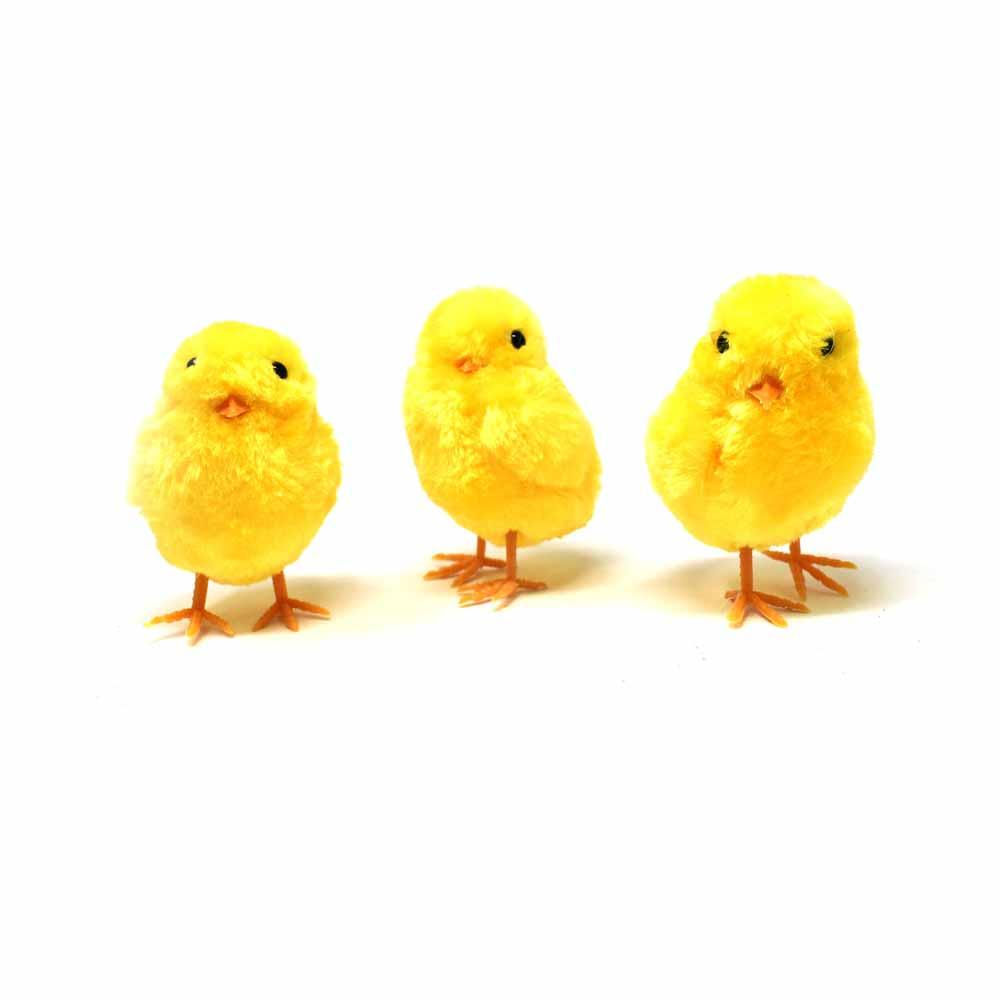 Fuzzy Chick, Yellow, 3-1/2-Inch, 3-Piece