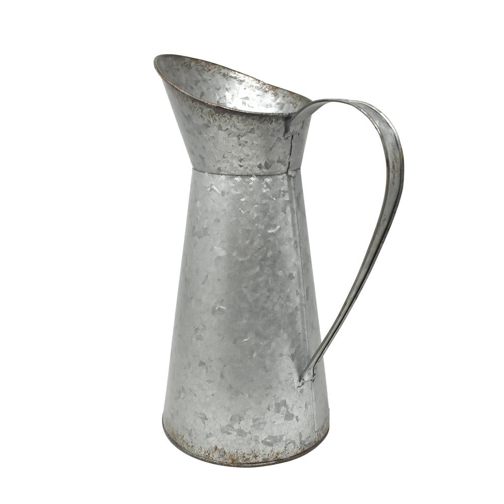 Large Galvanized Pitcher, 13-Inch