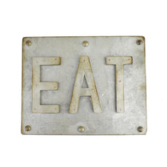Galvanized Eat Sign, 7-1/2-Inch