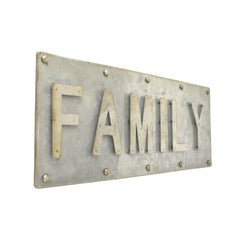 Galvanized Family Sign, 14-Inch