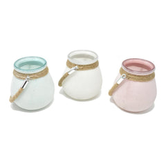 Assorted Sandy Colored Glass Jars, 4-1/4-Inch, 3-Piece
