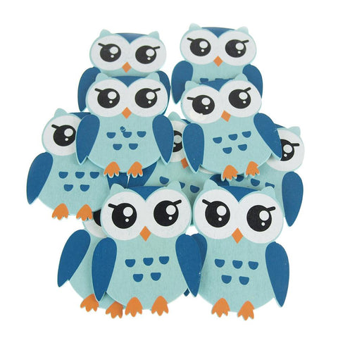 Animal Wooden Baby Favors, 5-Inch, 10-Piece, Blue Owl