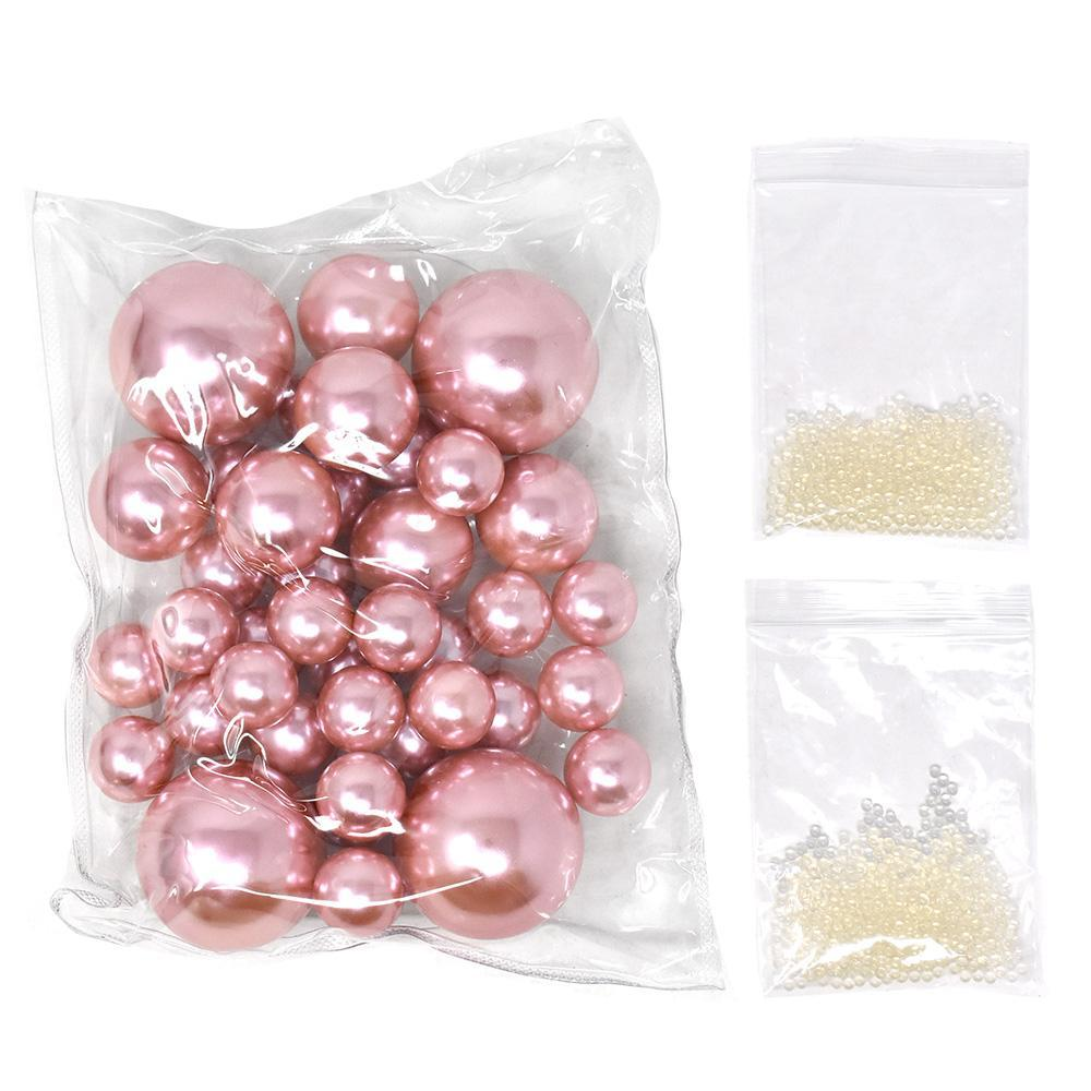 Vase Filler Pearls with Aqua Jelly Beads, Rose Gold, 5/16-Pound